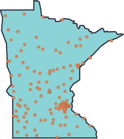 Map that highlights locations all over Minnesota.